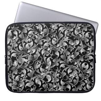 Black & Silver Twining Leaves Laptop Sleeve