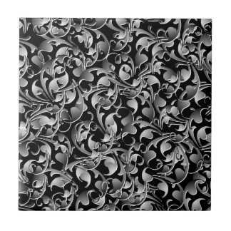 Black & Silver Twining Leaves Tile