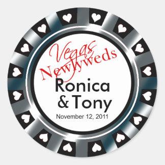 Black & Silver Vegas Newlyweds Casino Chip Round Sticker