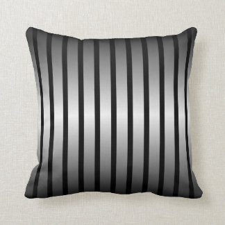 Black Silver Vertical Stripe Throw Pillow