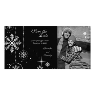 Black silver winter wedding save the date photo photo card