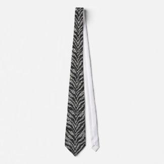 Black Silver Zebra Stripes Pattern Neck Tie