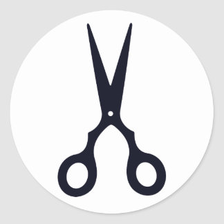 Black Simple Hair Scissors (Barber / Hairdresser) Classic Round Sticker
