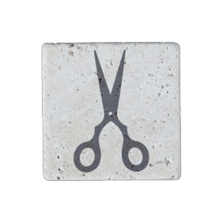 Black Simple Hair Scissors (Barber / Hairdresser) Stone Magnet