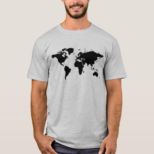 black simple world map T-Shirt