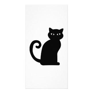Black sitting cat customized photo card