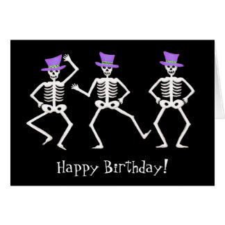 Black Skeleton Dancing Halloween Happy Birthday Card