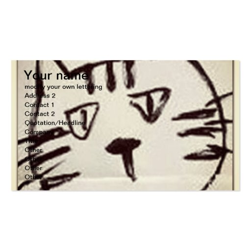 black sketch of a cat face on white business cards