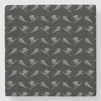 Black ski pattern stone beverage coaster