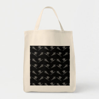 Black ski pattern grocery tote bag