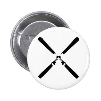 black skier crossed 6 cm round badge
