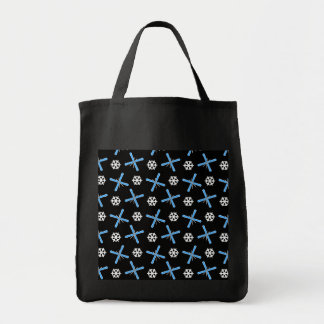 Black skis and snowflakes pattern tote bags
