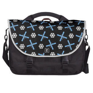 Black skis and snowflakes pattern commuter bags