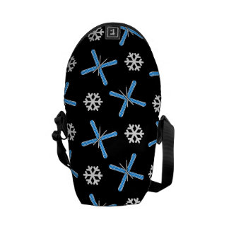 Black skis and snowflakes pattern courier bags