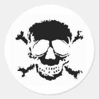 Black Skull and Cross Bones Round Sticker