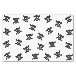 Black Skull and Crossbones on White Tissue Paper