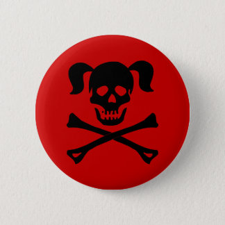 Black Skull and Crossbones With Pigtails 6 Cm Round Badge