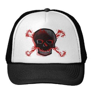 Black Skull Bloody Cross Bones Trucker Hat