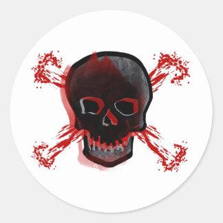Black Skull Bloody Cross Bones Stickers