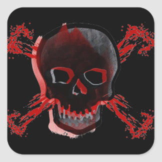 Black Skull & Bloody Cross Bones Square Stickers