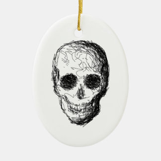 Black Skull. Christmas Ornament