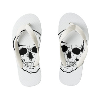 Black Skull Laughter Flip Flops
