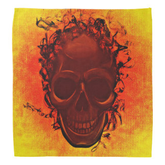 Black skull orange yellow bandana