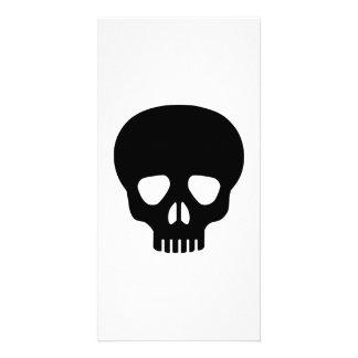 Black skull photo card template