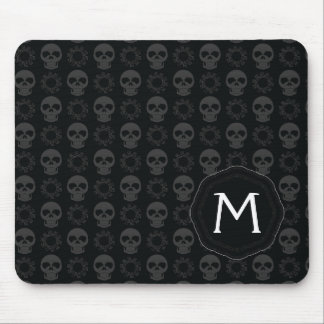 Black Skulls And Gears Pattern With Initial Mouse Mat