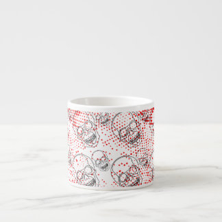 Black skulls on bloody red splashes background espresso cup