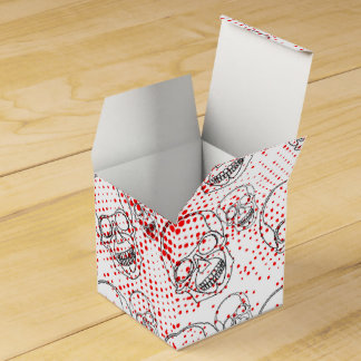 Black skulls on bloody red splashes background favour box