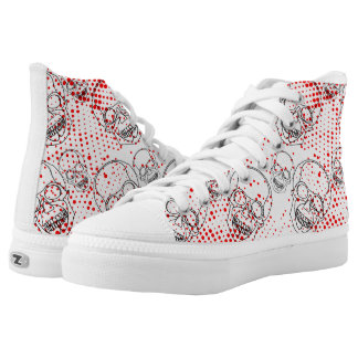 Black skulls on bloody red splashes background high tops