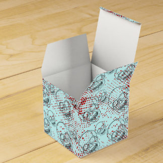 Black skulls on bloody red splashes background party favour box