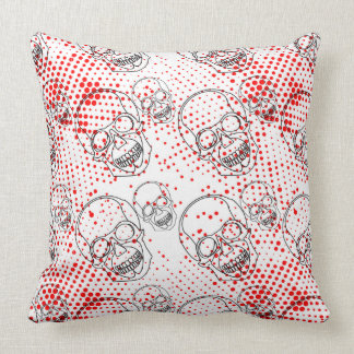 Black skulls on bloody red splashes background throw pillow
