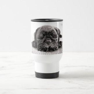 Black sleeping pug stainless steel travel mug