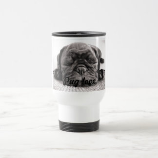 Black sleeping pug travel mug