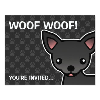 Black Smooth Coat Chihuahua Cartoon Dog Card