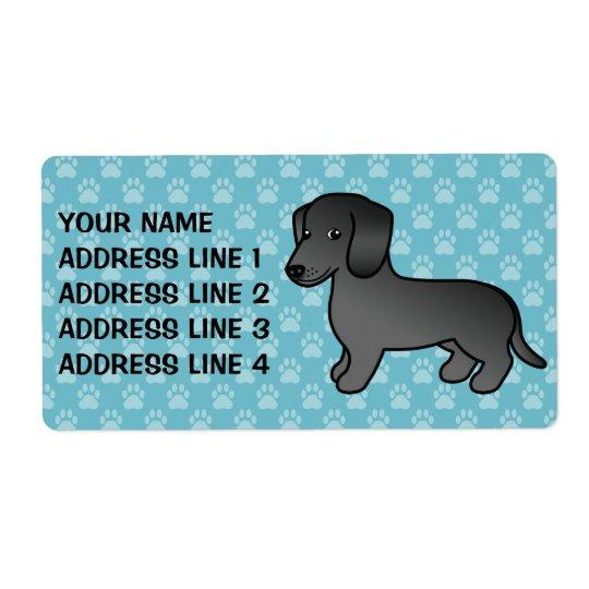 Black Smooth Coat Dachshund Cartoon Dog Shipping Label