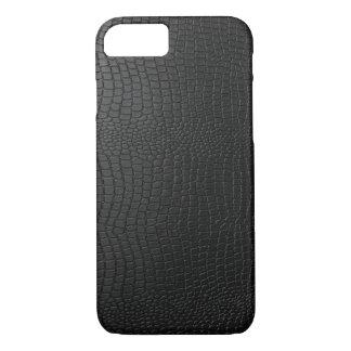 Black Snakeskin Faux Leather Pattern Look iPhone 7 Case