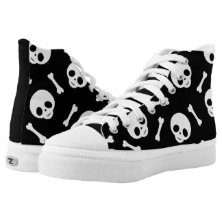 Black sneakers with skulls