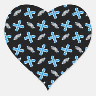 Black snowboard pattern heart sticker