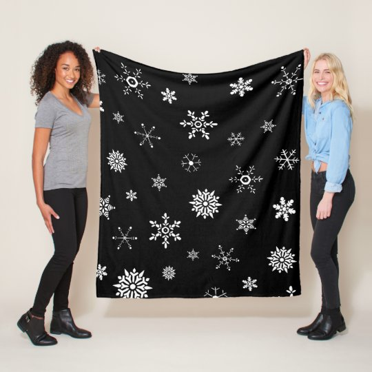 Black Snowflake Fleece Blanket