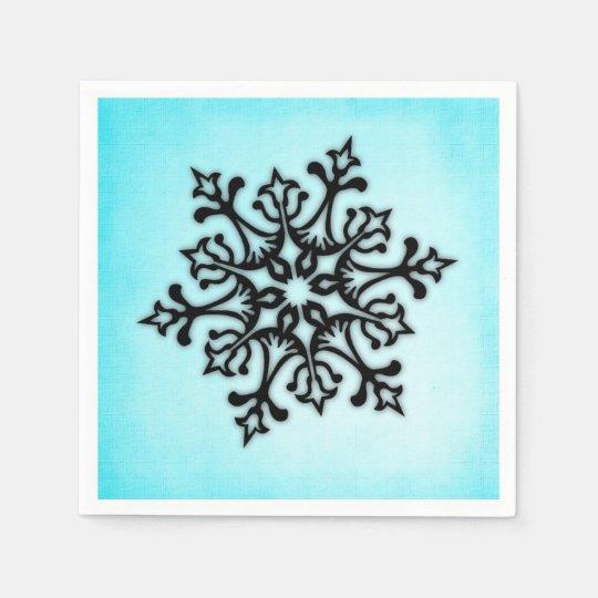 Black Snowflake on Blue Disposable Napkin