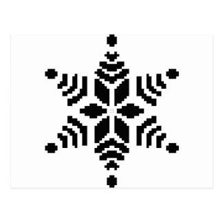Black snowflake postcard
