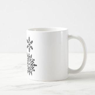 Black snowflakes coffee mug