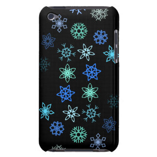Black Snowflakes Flurry Pattern iPod Touch Covers