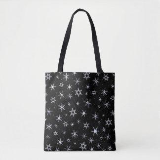 Black Snowflakes Tote Bag