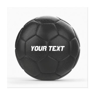 Black Soccer Ball Personalized Text Gallery Wrap Canvas