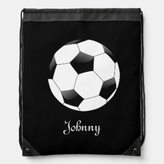Black Soccer Football Personalized Drawstring Bag