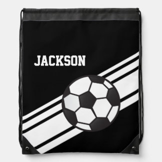 Black Soccer Stripes Drawstring Bag